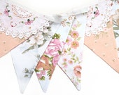 Vintage Bunting Spring Pink Peach Embroidered Lace Floral Flags. Shabby Chic . Garden Party Decoration , High Tea / Kitchen Tea Wedding .