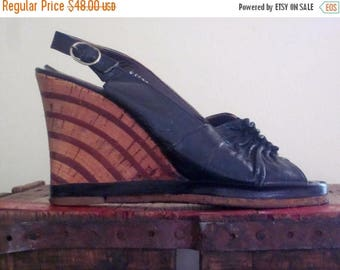 40 Shoes / Cork Wedges / Rockabilly / Boho / Platform Wedges
