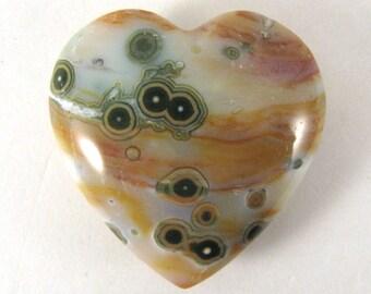 Ocean Jasper PUFFY Heart  -  ETOJ634