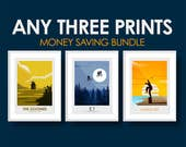 Money Saving Offer - 3 x Prints of your Choice from the minimalist print series - Choose Your Size - Movie Poster, Television, Poster, Art