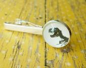 20% OFF -- 18 mm Black and White T.Rex dinosaur Fossil bone Tie clip ,Mens Accessories,Perfect Gift Idea