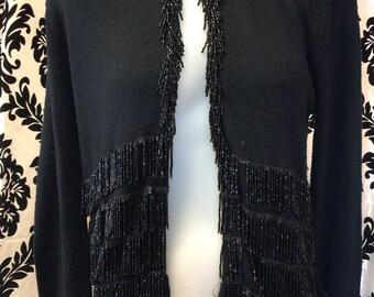 Beautifully Beaded Black 50's Cardigan