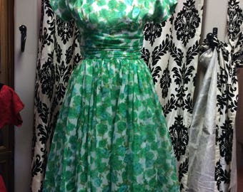 Graceful Green and Blue Marigold Dress