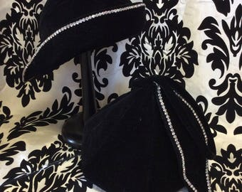 1940's Velvet & Rhinestone Hat and Purse Set