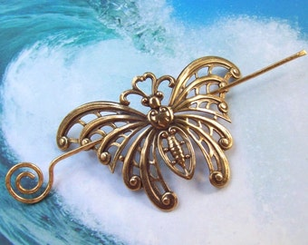 Gold Butterfly Hair Slide, butterfly shawl pin, large brass shawl pin, hammered, oxidized, hair stick, hair pin, barrette