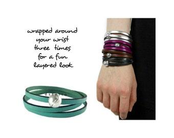 Custom womens bracelet, Leather bracelet, Custom mens bracelet, Multistrand bracelet, Leather jewelry, Gift for her, for him, Magnetic clasp