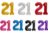 "21 Birthday Number Balloons 16"" or 34"" Mylar / Pack of 2 Balloons / 16"" Air Fill only / 21st Birthday"