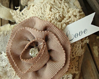 Vintage Lace Tattered Heart with Mocha Rhinestone Rosette and Love Tag