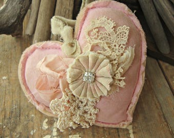 Vintage Lace Tattered Pink Heart with Rhinestone Center Fabric Rosette