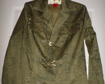 Vintage Jacket & Pant Set Suit Small High Waisted Pockets Army Green Mirror Embellished Corded Belt Unique