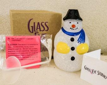 Snowman Oil Lamp with Mount St. Helens Ash  - Art Glass Snowman - Christmas Figurine - Winter Decor - Christmas Decoration - Hostess Gift