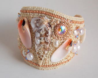 Bracelet, Cuff,  Bead Embroidery, Trending jewelry,Free Shipping, Seed bead bracelet, Sea shell, Freshwater pearls, Summer bracelet
