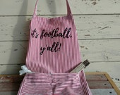 ON SALE It's Football Y'all Apron - Chef Gift, Football Apron, Red Striped Full ApronWith Pocket , UGA Football, Gift for Grad or Christmas