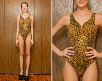 Vintage 90s Black Tan Yellow Brown Cheetah Plunging Animal Print Leopard Tiger Spot One Piece Swimsuit Bodysuit Leotard Jersey S M L
