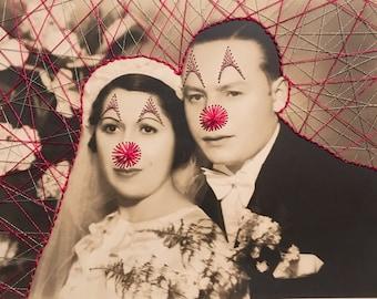 vintage wedding portrait Photo brodée