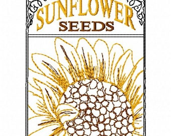 Sun Flower Seed Pack Embroidery Design - Instant Download