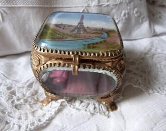 Antique French ormolu box trinket box jewelry box w Eiffel Tower Paris print French souvenir box w silk padded cushion, antique keepsake box