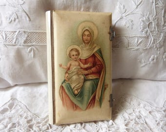 Antique French Latin religious missel prayer book missal bible w Madonna and child Jesus Christ, 1886, gilded pages, lithograph w Madonne