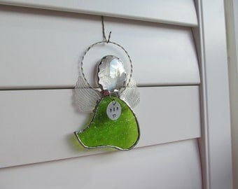 Stained Glass Angel - Fern Green Hammered Glass / Memorial Marker - Personalized Hand Stamped Tag now Available - Many Styles