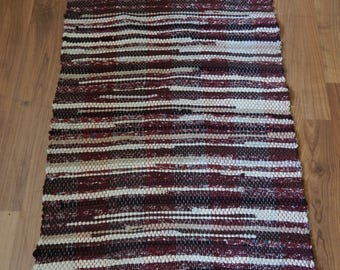 Reds, Tans, Cream and Browns handwoven rag rug, floor runner, kitchen rug