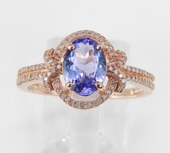 Diamond and Tanzanite Halo Engagement Ring Rose Pink Gold Size 7 Purple Gemstone