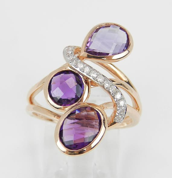 Amethyst and Diamond Cocktail Ring 14K Rose Gold Size 7 February Birthstone