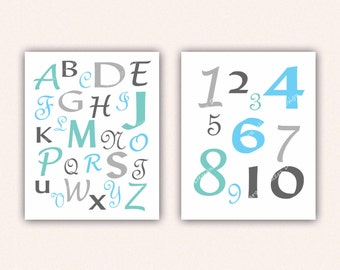 Alphabet and Numbers Print Set - Teal and Turquoise ABC's and 123's for Kid's Bedroom - Custom Nursery Art (5004)