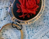 2 Gold tone Red Rose Pin Brooches