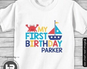 Nautical First Birthday Shirt or Bodysuit - Personalized Sailboat 1st Birthday Shirt- Crab Birthday shirt