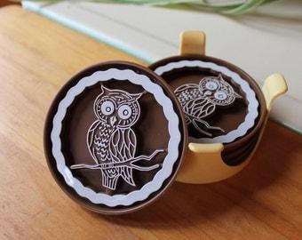 Vntg Owl Coasters 1975 set of 4