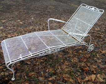 Chaise lounge etsy - Chaise metal vintage ...