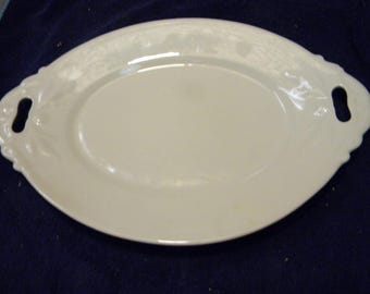 nice clean shape antique EMBOSSED FRUIT white IRONSTONE open handle serving platter