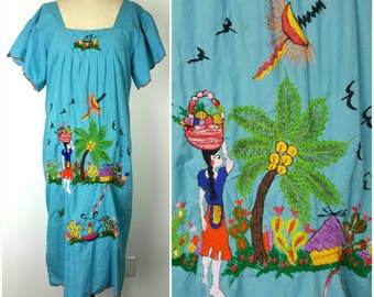 Colorful Tropical Island Dress Large