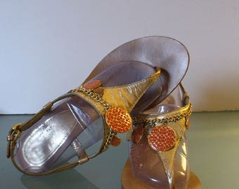 Coach Coin Wedge Heel  Sandals Size 7.5M