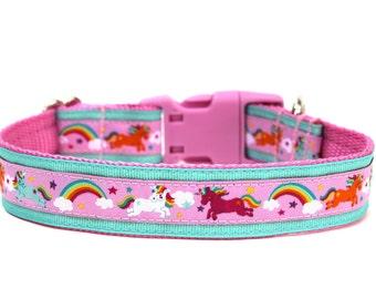 """Unicorn Dog Collar 1"""" Pink Dog Collar Aqua Dog Collar"""