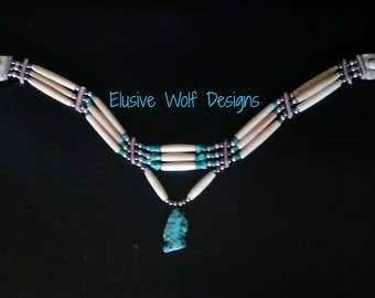 3 Row Hair Pipe Bone and Turquoise Choker - Tribal Chokers - Turquoise Pendant - Pow Wow Choker - Regalia - Elusive Wolf