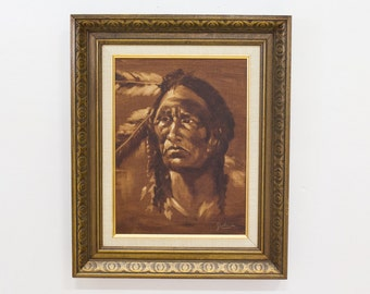 Indigenous American Portrait / Native American Oil Painting, Artwork