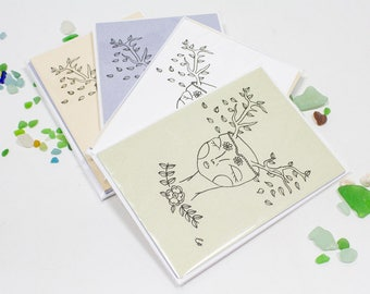 Spring Muse Blank Notecards, Four Pack in Pastel Colors, Free Shipping