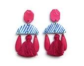 Statement Magenta Tassel Earrings