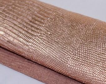 Snakeskin Embossed Leather, Rose Gold Genuine Leather, Lizard Metallic  Leather