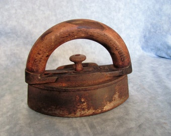 Cast Iron Sad Iron with Wood Handle   / Simmons HDW ST Louis  / Primitive Door Stop / Primitive Book End