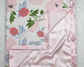 READY TO SHIP Minky Blanket, pink blanket, baby girl gift, baby blanket, satin blanket, soft blanket, satin and minky, baby gift ideas
