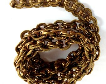 Vintage Handmade Brass Chain, Jewelry Making, Patina Brass, Double Loop and Industrial Bead Chain, Jewelry Chain, B'sue, 3 Feet, Item09032