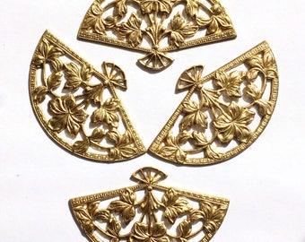 Vintage Victorian Fan, 4 Piece, Leaf Fan, Fan Handle, Jewelry Making, Vintage Jewelry Supplies, B'sue Boutiques, 33 x 54mm, Item02932