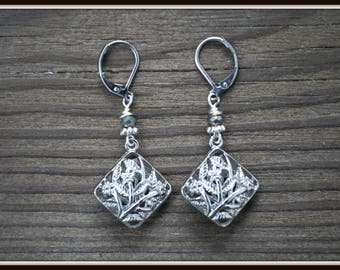 Flower Earrings, Silver Flower Earrings, Square Flower Earrings