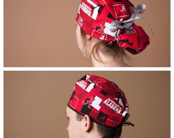 Surgical Hat, Scrub cap, Ponytail Scrub cap, Surgical cap, ponytailed scrub hat, scrub hat~ Crimson Tide (long hair)