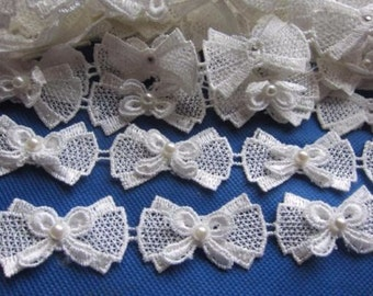 Bow Pearl Lace Edge Trim price for 1 yard
