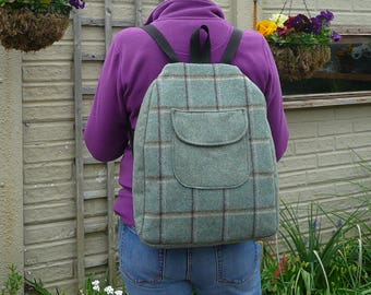 Backpack, Rucksack, Mini Backpack, Tweed Backpack, Back Zip Backpack, Blue Backpack, Green Backpack,