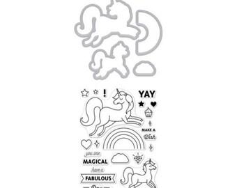 Hero ArtsUnicorn Stamp & Cut  DC208 , Clear Stamp, Stamping, rainbow, diamond,cloud Unicorn, Dream, Set, Die