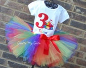 Rainbow Circus Tent Tutu Outfit, Bloomers, and Matching Boy Shirt